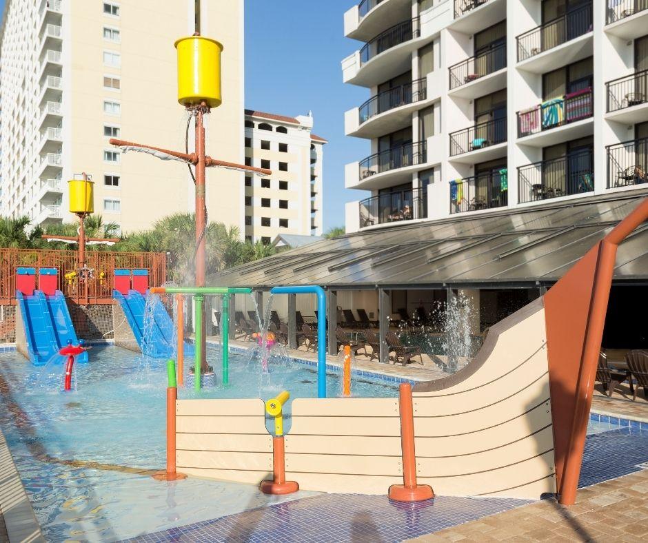 Breakers outdoor pool with sunken pirate ship